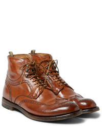 Табачные кожаные ботинки броги