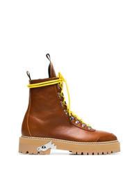 Табачные кожаные ботинки на шнуровке