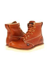 Табачные кожаные ботинки