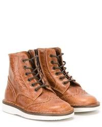 Детские табачные кожаные ботинки для мальчику от Pépé