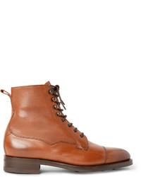 Табачные кожаные повседневные ботинки