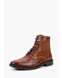 Мужские табачные кожаные повседневные ботинки от Levi's