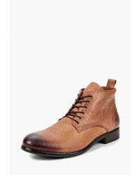 Мужские табачные кожаные повседневные ботинки от Nobrand