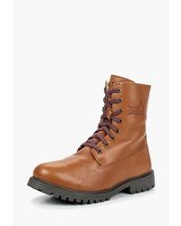 Мужские табачные кожаные повседневные ботинки от Woodland