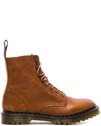 Табачные кожаные рабочие ботинки