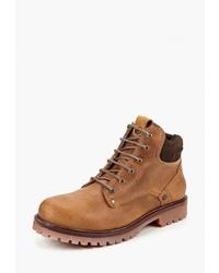 Мужские табачные кожаные рабочие ботинки от Wrangler