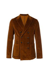 Мужской табачный вельветовый двубортный пиджак от The Gigi