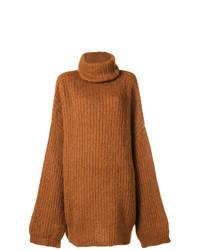 Табачный вязаный свободный свитер