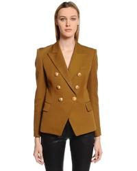 Табачный двубортный пиджак