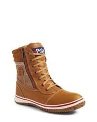 Табачный кожаный зимние ботинки