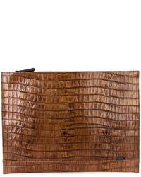 Женский табачный кожаный клатч от Zanellato