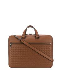 Табачный кожаный портфель от Bottega Veneta