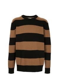 Табачный свитер с круглым вырезом в горизонтальную полоску