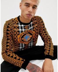 Мужской табачный свитер с круглым вырезом с принтом от ASOS DESIGN