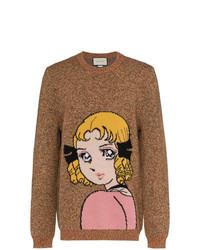 Мужской табачный свитер с круглым вырезом с принтом от Gucci