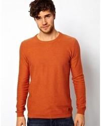 Табачный свитер с круглым вырезом
