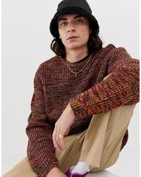 Мужской табачный свитер с круглым вырезом от ASOS DESIGN