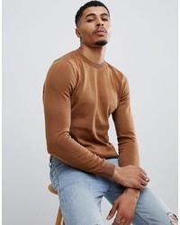 Мужской табачный свитер с круглым вырезом от New Look