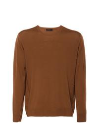 Мужской табачный свитер с круглым вырезом от Prada