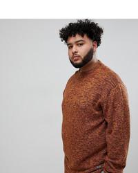 Мужской табачный свитер с круглым вырезом от replika