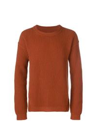 Мужской табачный свитер с круглым вырезом от Rick Owens