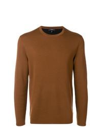 Мужской табачный свитер с круглым вырезом от Theory