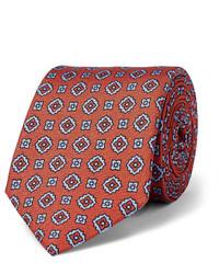 Табачный шелковый галстук с принтом