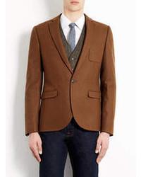 Табачный шерстяной пиджак