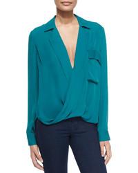 Темно-бирюзовая блузка с длинным рукавом