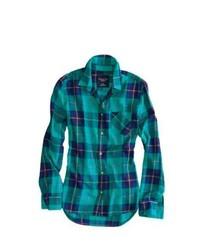 Темно-бирюзовая классическая рубашка в шотландскую клетку