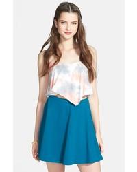 Темно-бирюзовая короткая юбка-солнце