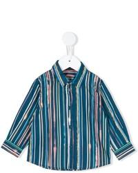 Детская темно-бирюзовая рубашка с длинным рукавом в вертикальную полоску для мальчику от Paul Smith