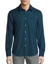 Темно-бирюзовая рубашка с длинным рукавом