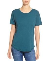 Темно-бирюзовая футболка с круглым вырезом