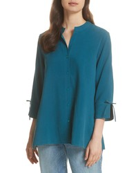 Темно-бирюзовая шелковая блузка с длинным рукавом