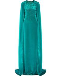 Темно-бирюзовое вечернее платье с украшением