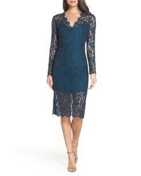 Темно-бирюзовое кружевное платье-футляр с цветочным принтом