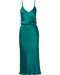 Темно-бирюзовое платье-комбинация