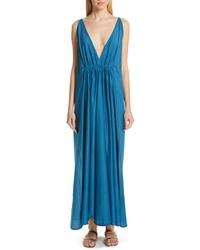 Темно-бирюзовое шелковое платье-макси