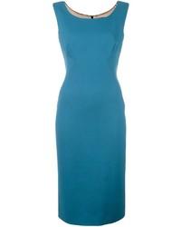 Темно-бирюзовое шерстяное платье-миди
