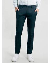 Темно-бирюзовые классические брюки