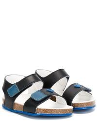 Детские темно-бирюзовые кожаные сандалии для мальчику от Armani Junior