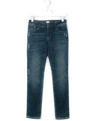 Детские темно-бирюзовые рваные джинсы для мальчику от Armani Junior
