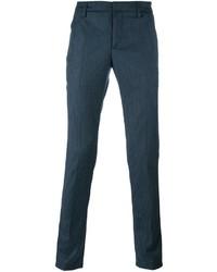 Темно-бирюзовые шерстяные брюки чинос