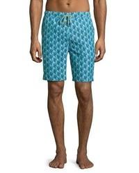 Темно-бирюзовые шорты для плавания с принтом