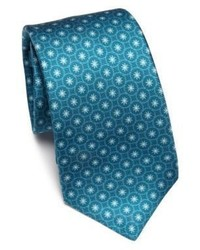 Темно-бирюзовый галстук с цветочным принтом