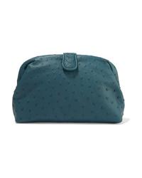 Темно-бирюзовый кожаный клатч от Bottega Veneta