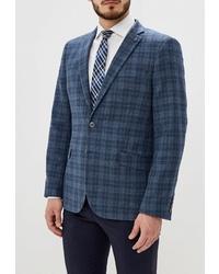 Мужской темно-бирюзовый пиджак в шотландскую клетку от Bazioni
