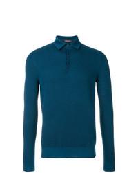 Темно-бирюзовый свитер с воротником поло
