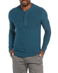 Темно-бирюзовый свитер с горловиной на пуговицах
